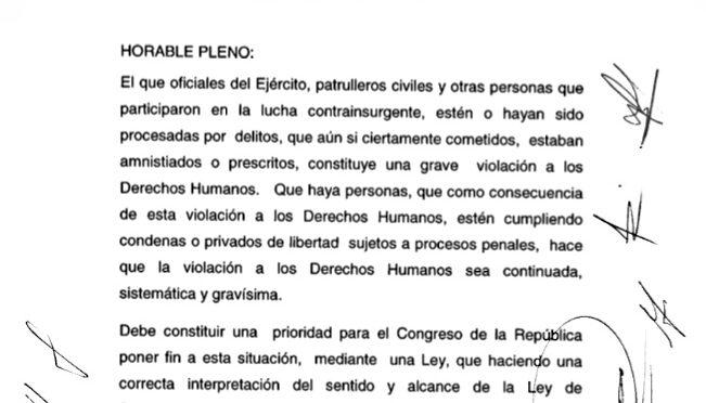 Caso Diario Militar: Final de Primera Audiencia e Iniciativa de Ley de Amnistia